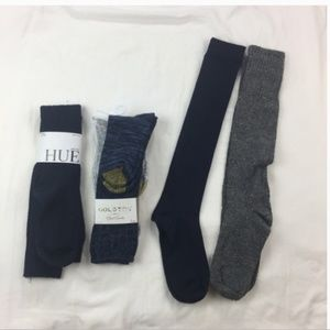 NWT BUNDLE HUE AND GOLD TOE Knee Socks Womens